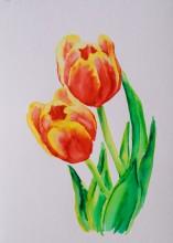 Tulips 4, Mar. 7, 2018, watercolour pens