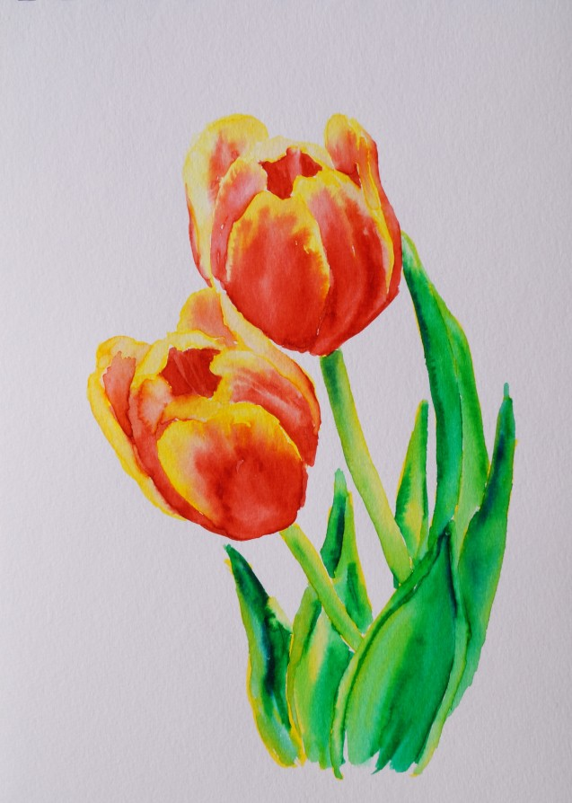 Tulips 4, Mar. 7, 2018, watercolour pens