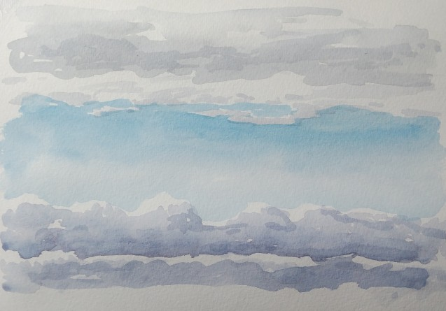 clouds, jan. 22, 2019, watercolour on paper