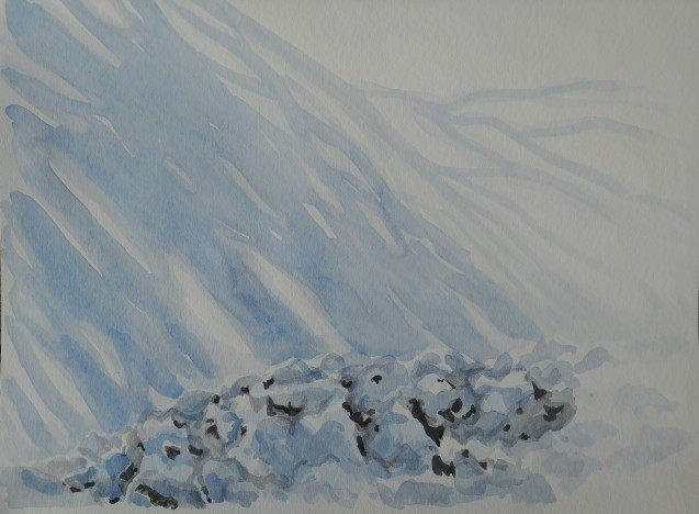 Snow Covered Juniper under the Living Room Window, Feb. 5, 2019, watercolour on paper