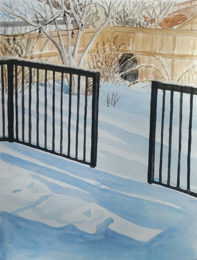 Snow in the Backyard, Feb. 6, 2019, watercolour on paper