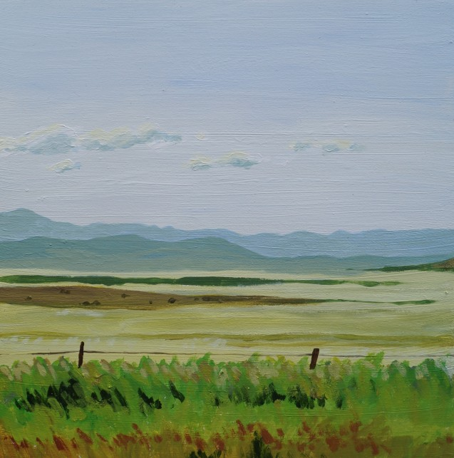 Facing north, 6 pm, Aug.5, 2020, acrylic on panel, 12in.x12in.