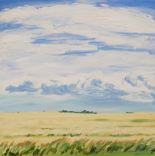 Fields, Aug.12, 2020, acrylic on panel 12in.x12in.
