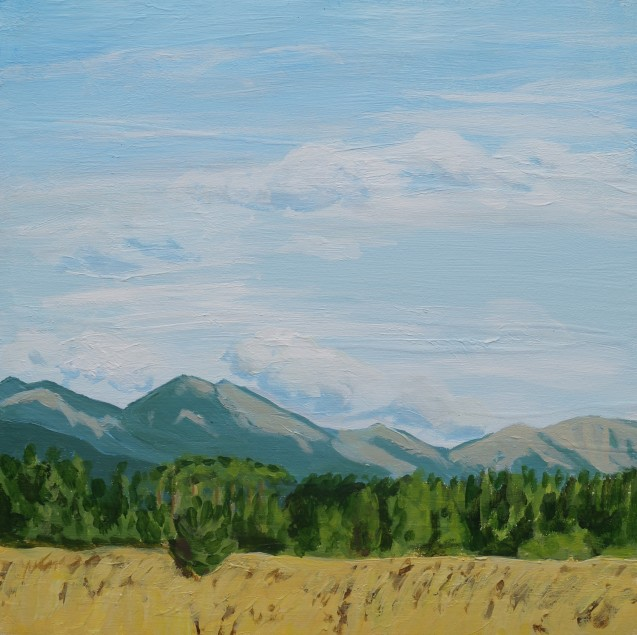 The View from Highway 734, Aug.19, 2020, acrylic on panel, 12in.x12in.