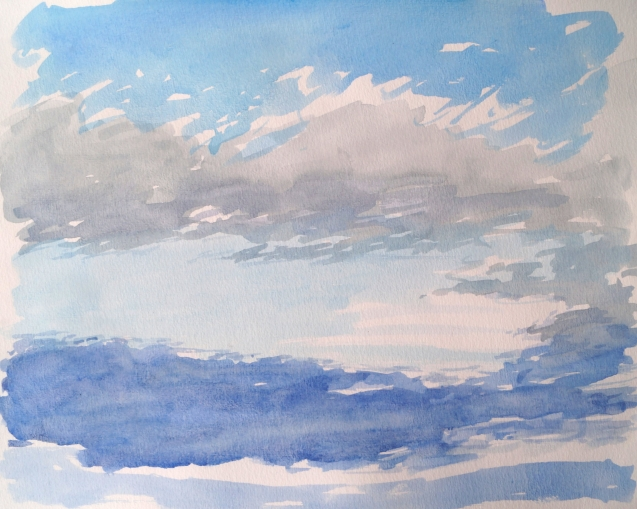 Clouds Rolling In, Oct. 10, 2020, watercolour on paper