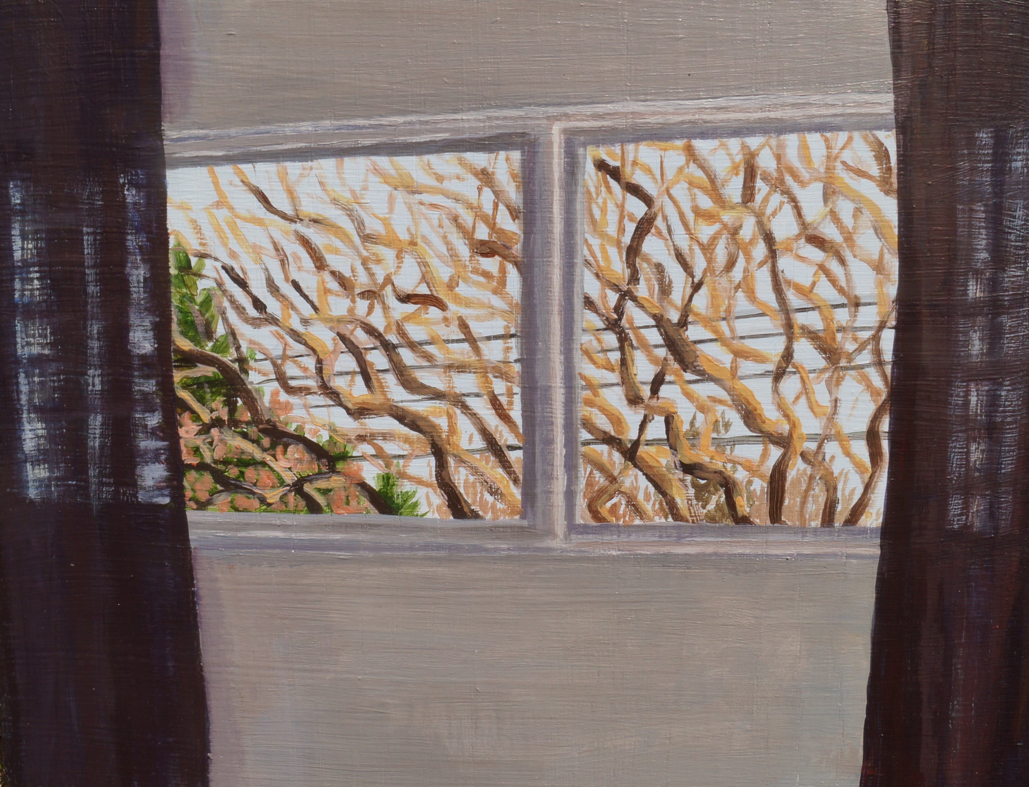 North facing window (with lilac tree), 2021, acrylic on panel, 9in. x 12in.