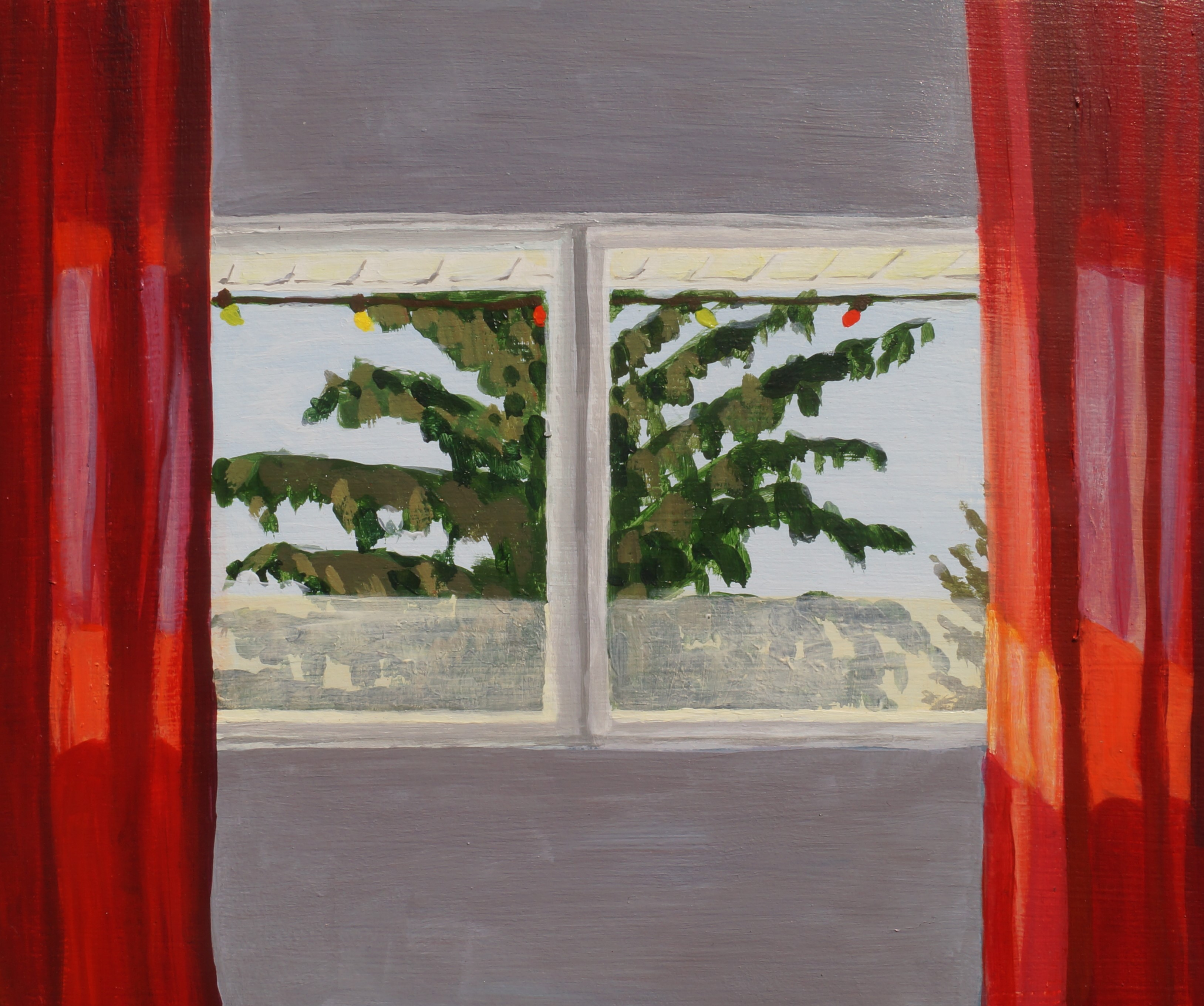 South facing window (with evergreen tree), 2021, acrylic on panel, 10in. x 12in.